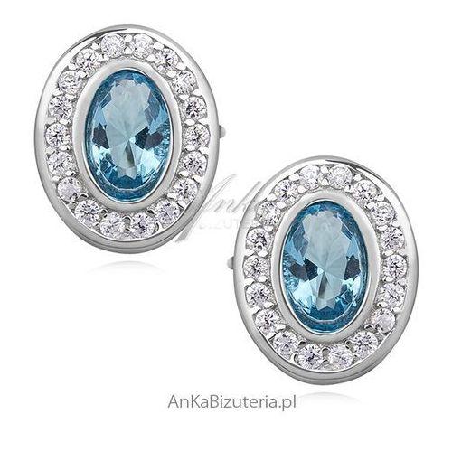 Kolczyki srebrne cyrkonie białe i akwamaryn, kolor niebieski