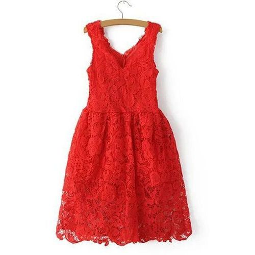Charming V Neck Sleeveless High-Waisted Zipper Design Lace Dress For Women, kolor czerwony