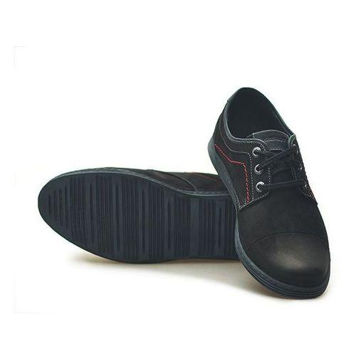 Półbuty Krisbut 4726-1-1 Czarne nubuk, kolor czarny