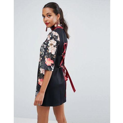 ASOS High Neck Black Base Floral Mini Shift Dress - Multi