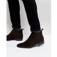 faux suede chelsea boots in dark brown - brown marki New look