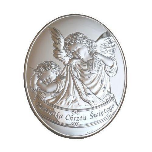 Produkt włoski Srebrny obrazek z aniołem stróżem z latarenką