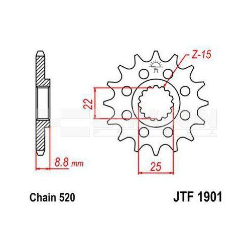 Zębatka przednia JT F1901-14 SC, 14Z, rozmiar 520 2201170 KTM EXC-F 250, SX-F 505, EXC 250