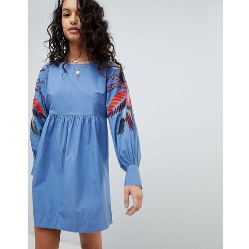 Free people mini obsessions floral mutton sleeve dress - blue
