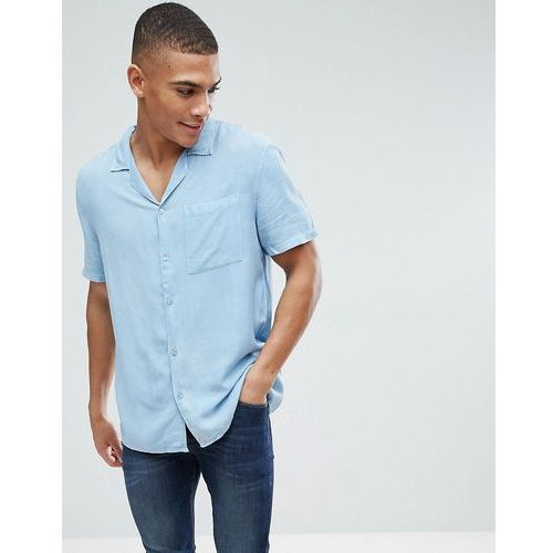 New Look Regular Fit Shirt With Revere Collar In Light Denim Wash - Blue