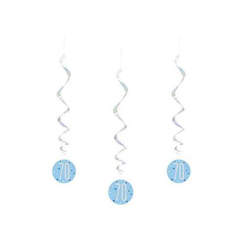 Dekoracja wisząca świderki na siedemdziesiątkę niebieskie - 6 szt. marki Unique