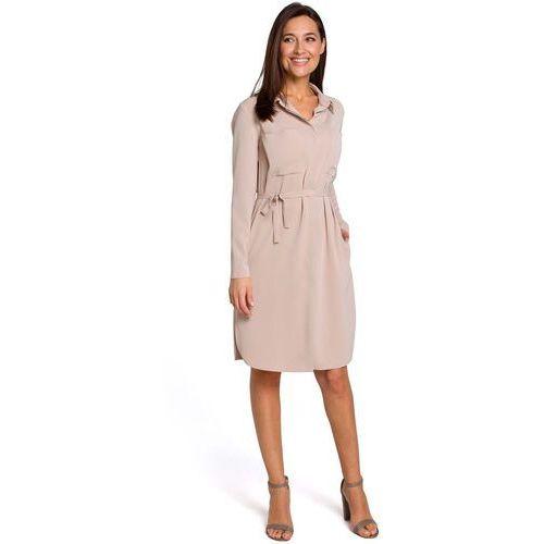 Beżowa Sukienka Koszulowa z Paskiem, ES145cr