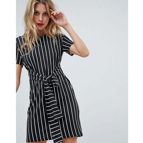 PrettyLittleThing Stripe Tie Waist T-Shirt Dress - Beige
