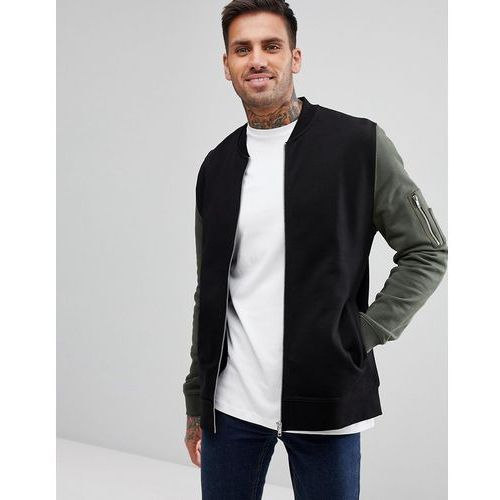 jersey bomber jacket with contrast sleeves and ma1 pocket in black - black, Asos