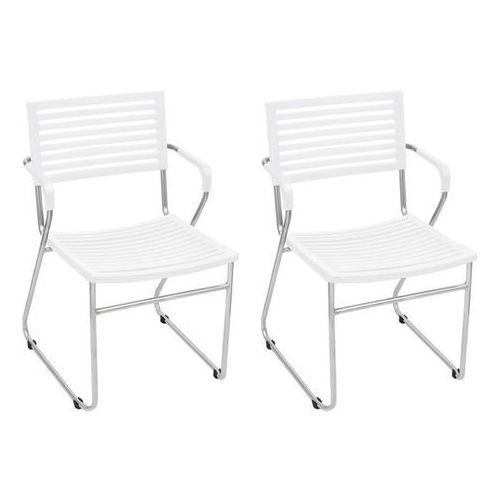 Krzesła sztaplowane, 12 szt., żelazna rama i plastik, białe marki Vidaxl