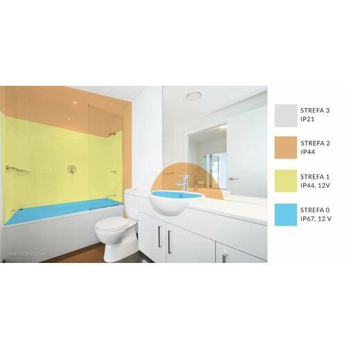 Shilo Natynkowa lampa sufitowa otaru 8082 łazienkowa oprawa prostokątna listwa led 19,2w 3000k ip44 czarna