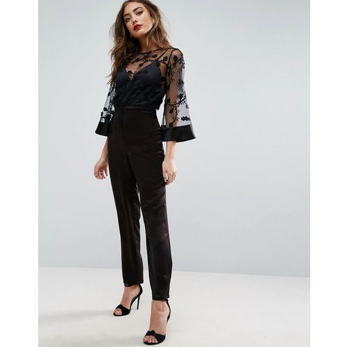 jumpsuit with lace bodice and contrast satin trouser - black marki Asos