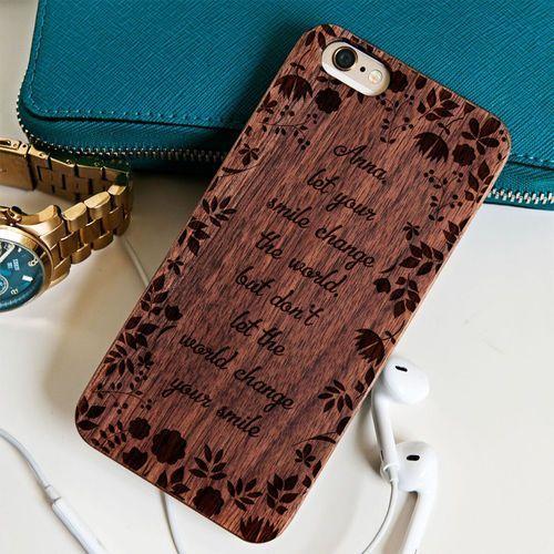 Smile - drewniana obudowa - orzech - iphone 5/5s/se wyprodukowany przez Mygiftdna