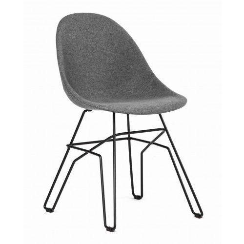 Krzesło Ribe tapicerowane szary ciemny (grafitowy), kolor szary
