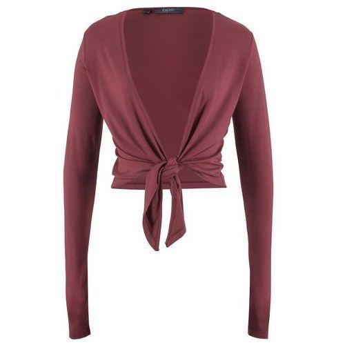 Bolerko shirtowe wiązane, długi rękaw bonprix czerwony klonowy, wiskoza