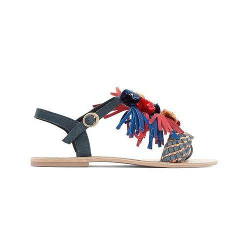 Skórzane sandały z pomponikami, szeroka stopa 38-45, Castaluna