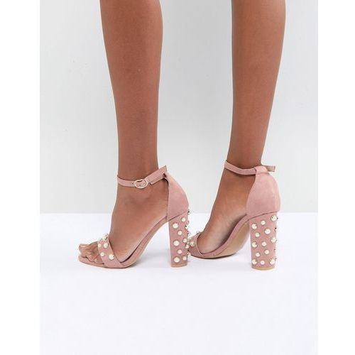 Glamorous blush block heeled sandals with pearl embellishment - pink