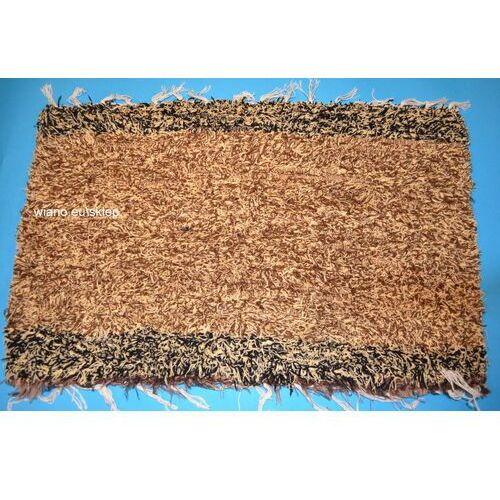 Chodnik bawełniany (wycieraczka) ręcznie tkany brązowo-ecru 66x41 marki Twórczyni ludowa
