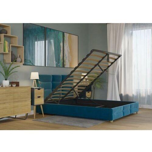 Big meble Łóżko 120x200 tapicerowane bergamo + pojemnik + materac welur lazurowe