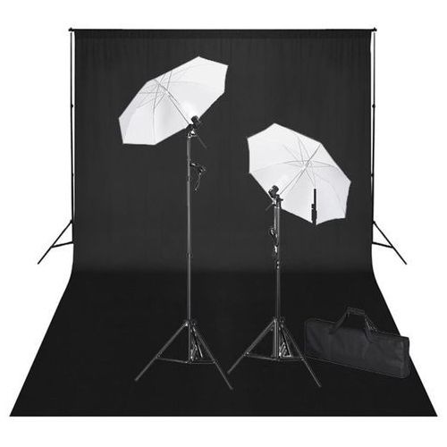 Vidaxl zestaw do studio: czarne tło 600x300 i światła (8718475821779)