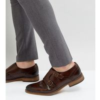 wide fit monk shoes in brown leather with brogue detail - brown, Asos