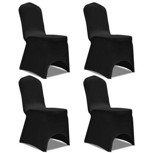 Vidaxl Elastyczne pokrowce na krzesło czarne 4 szt.