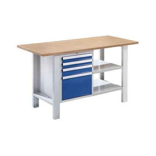 Quipo Stół warsztatowy,szer. blatu 1500 mm, 4 szuflady