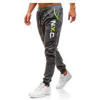 Spodnie męskie dresowe joggery grafitowe Denley KK553, dresowe