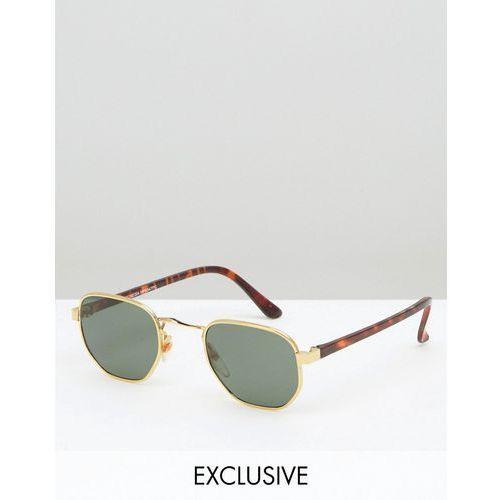 inspired square sunglasses with gold frame in tortoiseshell - gold marki Reclaimed vintage