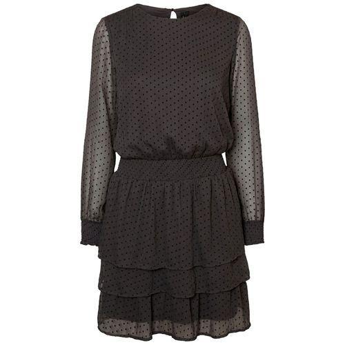 Krótka sukienka, rozkloszowana, rozszerzana, gładka, z długim rękawem, kolor czarny