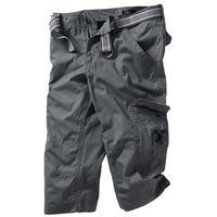 Spodnie 3/4 z paskiem Loose Fit bonprix dymny szary