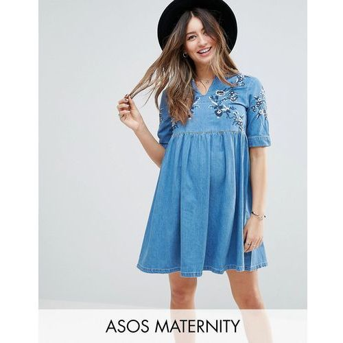denim smock dress in midwash blue with embroidery - blue marki Asos maternity