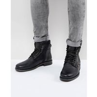 emmerson leather boots with denim detail in black - black, Levis