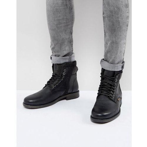 Levi's emmerson leather boots with denim detail in black - black, Levis