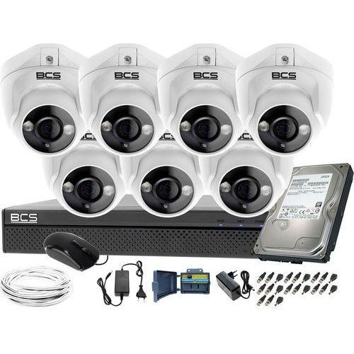 Kompletny zestaw do monitoringu 7 kamer kopułkowych do firmy placu BCS-XVR0801 7x BCS-DMQE1200IR3-B Dysk 1tB Akcesoria, ZM11412
