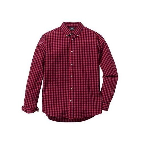 Koszula z długim rękawem Regular Fit bonprix czerwono-ciemnoniebieski w kratę, 1 rozmiar