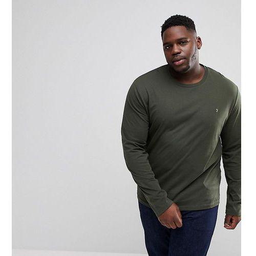 Farah PLUS Farris Slim Fit Long Sleeve T-Shirt in Green - Green, w 3 rozmiarach