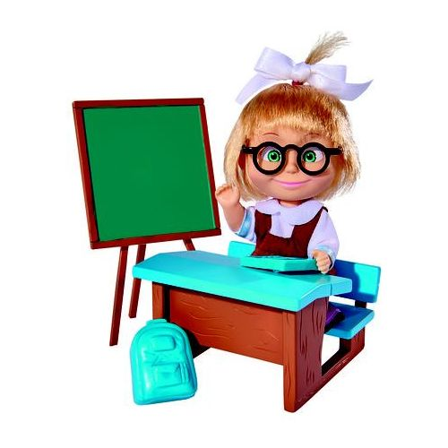 Lalka masza w szkolnym stroju przy tablicy marki Simba