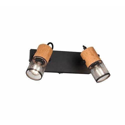Trio Tosh 804370232 kinkiet lampa ścienna 2x15W E14 czarny/drewniany (4017807467642)