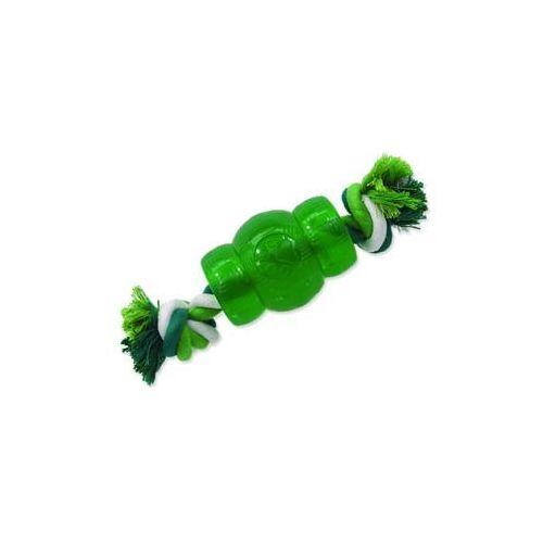 Hračka DOG FANTASY Strong Mint soudek gumový s provazem zelený 9,5 cm, 454-30441