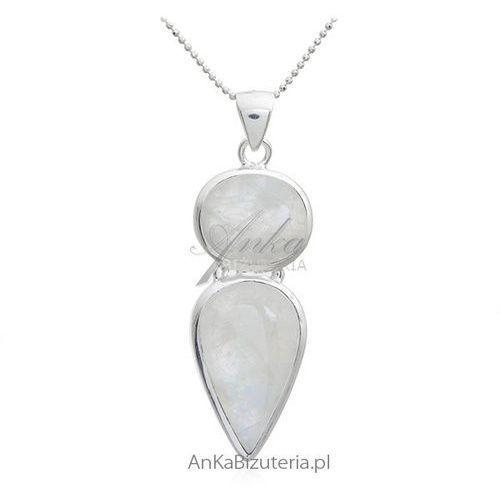 Zawieszka srebrna z kamieniem księżycowym Biżuteria na prezent z kamieniem szczęścia, kolor szary