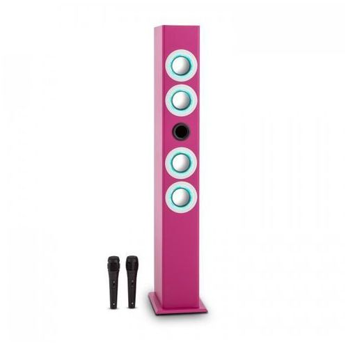 OneConcept Tallgirl głośniki karaoke Bateria BT USB SD MP3 FM AUX 2xmik różowy (4260435912477)
