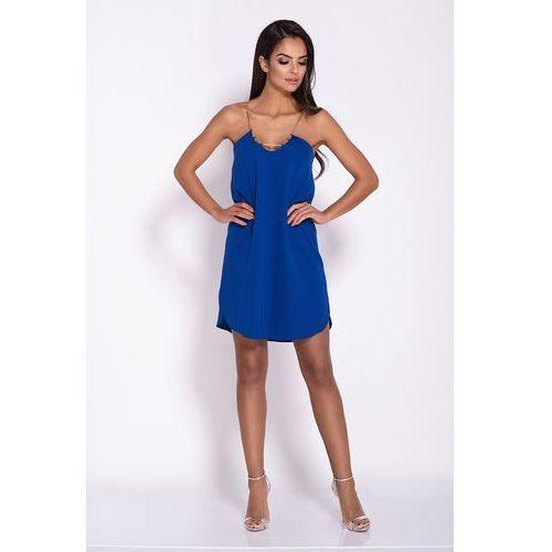 Niebieska elegancka luźna sukienka z wydłużonym tyłem na wesele, kolor niebieski
