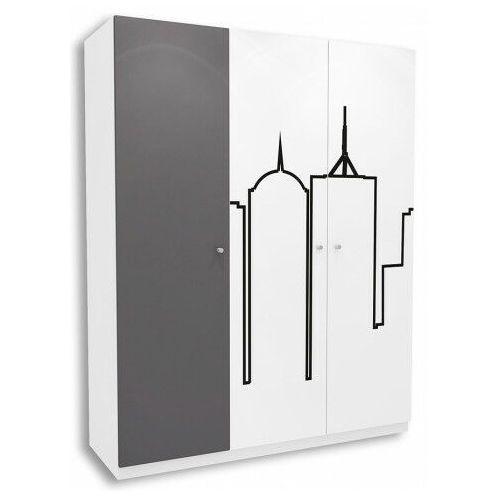 Producent: elior Biało-grafitowa szafa młodzieżowa timi 16x - 5 kolorów