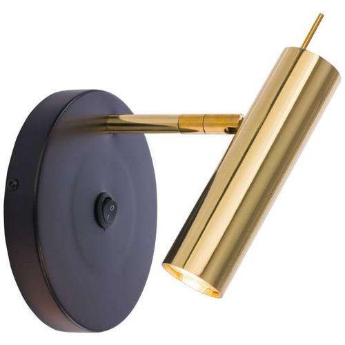 Kinkiet LAMPA ścienna AMOS 0173 Amplex okrągła OPRAWA metalowa tuba regulowana czarna złota, 0173
