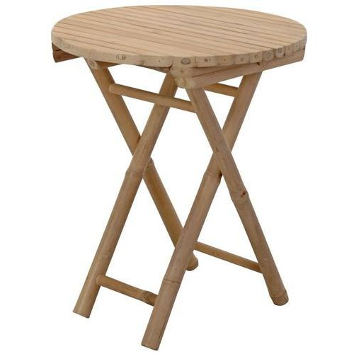Home styling collection Stolik składany, okrągły - drewno bambusowe, Ø 50 cm x h 60 cm