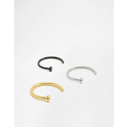 Designb open nose hoop ring in 3 pack - silver marki Designb london
