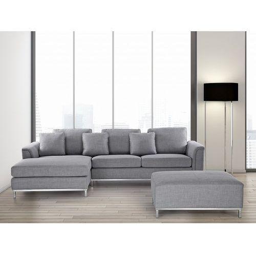 OKAZJA - Sofa jasnoszara - sofa narożna P - tapicerowana – sofa z pufą - OSLO, kolor szary