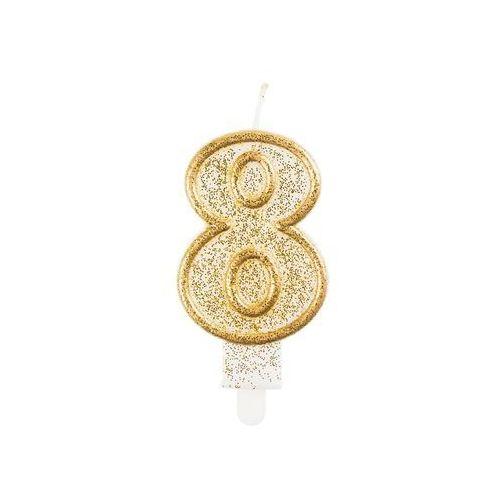 Świeczka cyferka ze złotą obwódką i brokatem - 8 - 1 szt. (5902973103861)