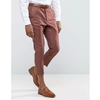 Asos wedding tapered smart trousers in light burgundy 100% wool - red